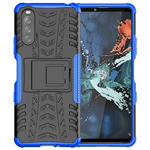 BRAND SET Fundas para Sony Xperia 10 III Cárcasa Silicona Suave TPU + PC Armadura Híbrida Antigolpes Protector Case Cover Bumper Cubierta Protectora, Carcasa para Sony Xperia 10 III-Azul