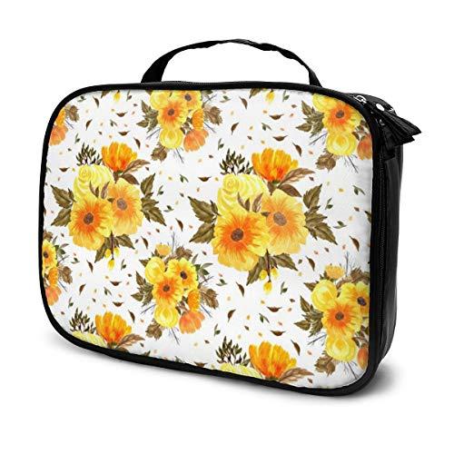 Multi-Purpose Cosmetic Train Case Lazy Zipper Clutch Bag Large Capacity Orange Flowers