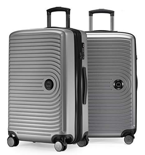 HAUPTSTADTKOFFER - Mitte - 2er Kofferset Trolley-Set + Zwei Koffergurte, Rollkoffer mit Dehnfalte 65cm, ABS, TSA, Silber matt