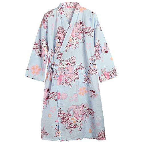ルームウェア レディース 浴衣 ガウン 和装 パジャマ 寝間着 バスローブ 寝巻き 綿 可愛い 花柄 ネコ