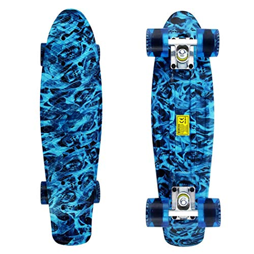Gelory Mini Pennybaord Complete Retro Plastic Skateboard with Colorful LED Light PU Wheels for Girls Boys Kids Adult Teens Beginners (Pattern 4)