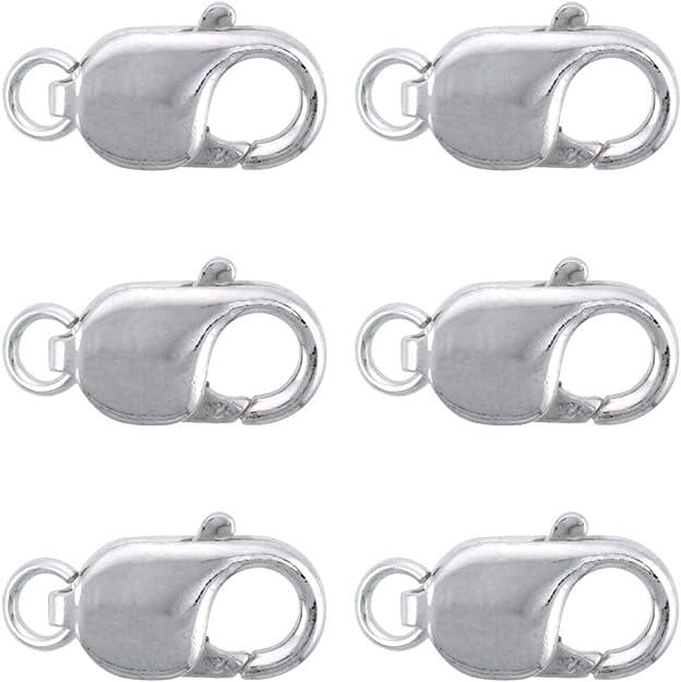 Cierre mosquetón 12 x 7 mm X 15 UNIDADES plateado metal abalorios