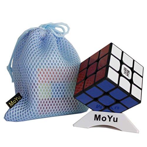 New MoYu WeiLong GTS2M GTS 2M V2M 3x3x3 Magnetic Magic Cube nueva versión iman Rompecabezas cubo cubo de juguete suave girando a la velocidad de un cubo cubo magico + bolso + un cubo stand (negro)
