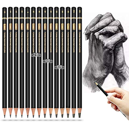 Professional Drawing Sketching Pencil Set - Brusarth 14 Pieces Drawing Pencils 12B, 10B, 8B, 6B×2,4B×2,2B×2,B, HB, 2H, 4H, 6H, Drawing Art, Sketching, Shading, for Beginners & Pro Artists