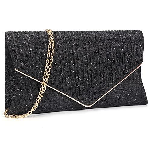 Bolso de noche con purpurina para mujer, bolso de embrague y bolsos clásicos de boda, fiesta, hombro Crossbody, negro (Negro), Large