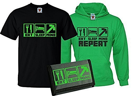 Reality Glitch Kinder Eat Sleep Mine T-Shirt, Kapuzenpullover & Wallet Dreierpack (Irisches Grün, X-Large)