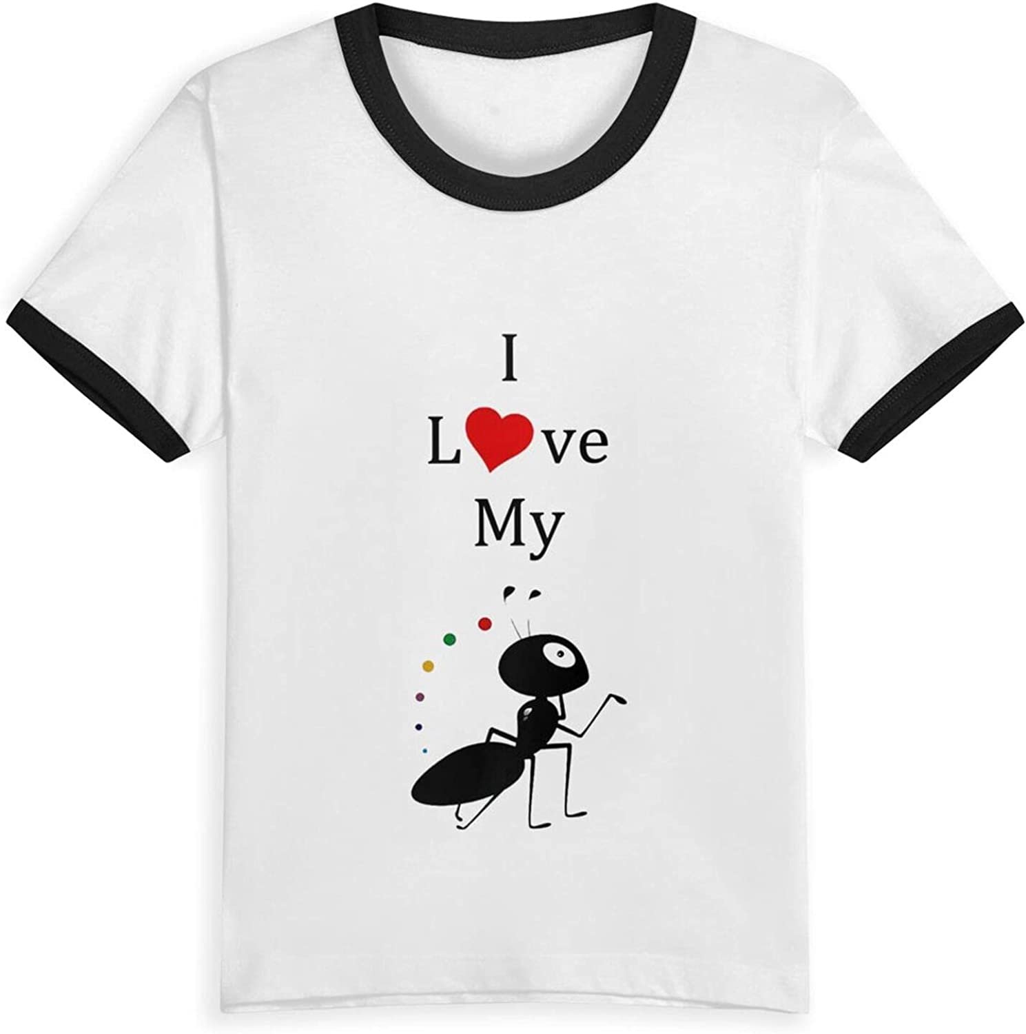 I Love My Ant - Aunt Boys Girls Shirts Funny Kids Short Sleeve T-Shirt Tops Tees 2-5 Years