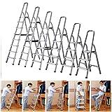 10pcs Step Ladder - 5 Treads Aluminum Light Weight Rust-Proof Wide Non Slip Steps Portable Folding Stepladder for Home/Kitchen/Office/Market