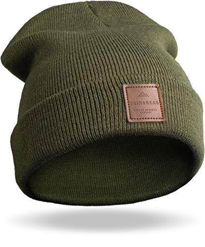 Grin&Bear Unisex Streetwear Mütze Beanie Feinstrick Oliv M65
