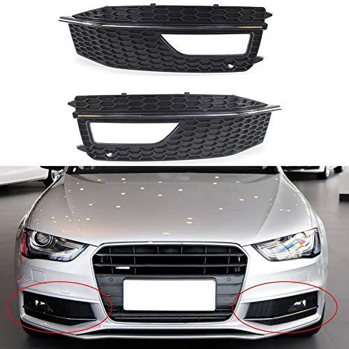 Parrilla para parachoques de luz antiniebla, 2 unidades, para luces antiniebla, repuesto de plástico, color negro para Audi A4 S4 S-line A4L cubierta de rejilla de lámpara antiniebla (color plateado)
