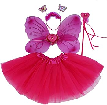 Fun Play Fairy Dressing up Costume for Girls – Butterfly Fairy Wings Tutu Magic Wand,Headband Costume Set for 3-8 Years