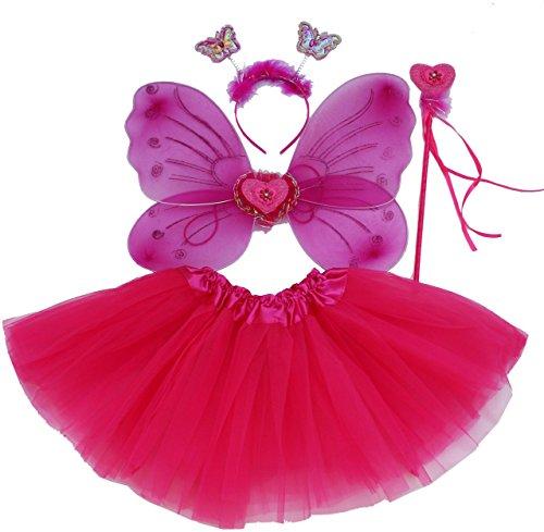 Fun Play TOWO Deguisement de Clochette fée Papillon - Ailes, Baguette, Serre-tête et Tutu - Déguisement Papillon pour Enfants 3 - 8 Ans -Couleur Rose Indien