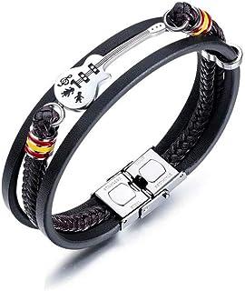 9e875431fbc10 Bracelet Vintage en Cuir tressé 4 Style pour Homme Petite Guitare Bronze  Alliage Boucle Bracelet Noir