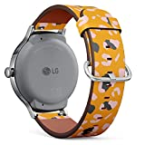 Compatible with [ LG Watch Style ] - 18mm Quick-Release Leather Band Bracelet Strap Wristband Replacement - Leopard