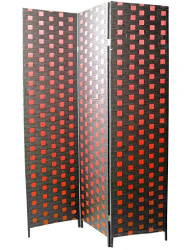 Home Line kamerverdeler 3 panelen, natuurlijke bamboe en gevlochten papier, rood en zwart. woonkamer/slaapkamer. 180 x 135 cm.