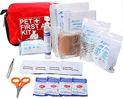 Pet First Aid Kit Dog – Vet Approved and is Perfect for Bleeding Nails, Clean, Dress Wounds. Self Adhering Bandage Will Not Stick to Hair. Hiking Dog First Aid Kit for Backpacking, Camping, Travel
