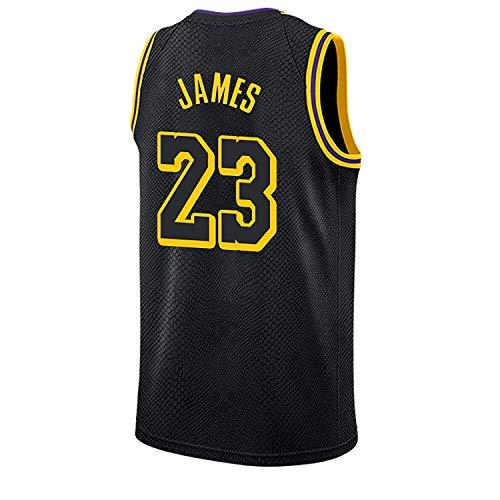 RAAVIN Lebron James#23, La Maglia da Basket, Los Angeles Lakers, Nuovo Tessuto Ricamato, Stile Sportivo,Nero(XL)