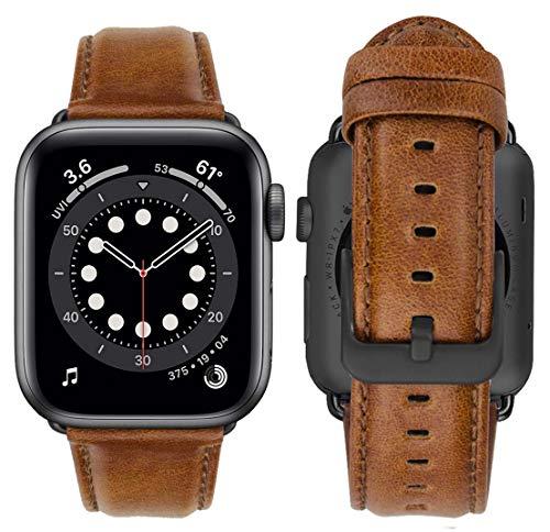 MroTech Compatible con Apple Watch Correa 44mm 42mm Pulseras de Repuesto para iWatch SE/Series 6/Serie 5/4/3/2/1 Replacment Banda de Reloj Cuero Piel Genuino con Hebilla Negra 42/44 mm Classic Marrón