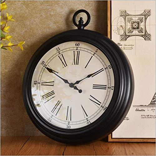 LBBD 15 Pulgadas Relojes de Pared Creativo Estilo Europeo silencioso Antiguo Interior al Aire Libre clásico Vintage Dormitorio Sala de Estar Cocina...