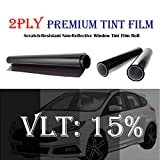 Mkbrother 2PLY 1.5 mil Premium 15% VLT 36 in x 5 Ft (36 x 60 Inch) Feet Uncut Roll Window Tint Film Auto Car Home