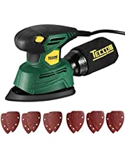 Mouse Detail Sander, TECCPO 14,000 OPM Compact Electric Sander with 12Pcs Sandpapers, Efficient Dust Collection System, Multi-Function 1.1Amp Hand Sander for Woodworking -TAMS22P
