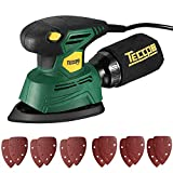 Mouse Detail Sander,TECCPO 14,000 OPM Compact Electirc Sander with 12Pcs Sandpapers, Efficient Dust Collection System,Multi-Function 1.1Amp Hand Sander for Woodworking -TAMS22P