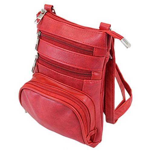 irisaa Bolso bandolera para teléfono móvil para hombre y mujer, bolso cruzado de mano de menos de 7 pulgadas, color Rojo, talla Einheitsgröße