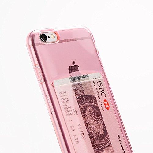 Funda Compatible iPhone 6 / 6S de Apple con Tarjetero Rosa para Tarjetas (Silicona Gel Transparente), Funda de TPU de Alta Resistencia y flexibilidad. Diseño Exclusivo de Diirihiiri