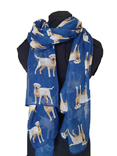 Blaue großen Labrador-Hund Design Damen Softübergroßen London Mode Schal/Wrap (Blue big labrador dog design ladies soft oversized london fashion scarf wrap)