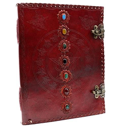 HoitoDeals Libro de cuero fuerte de 7 chakras para collage diario, etc. (1 unidad)