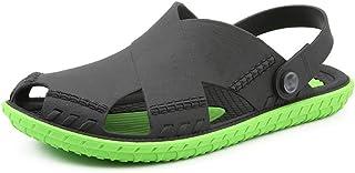 FDSVCSXV Men's Lightweight Ventilated Clogs, Mens Lightweight Shoes for Men Summer Slippers Sandals,Black green,39