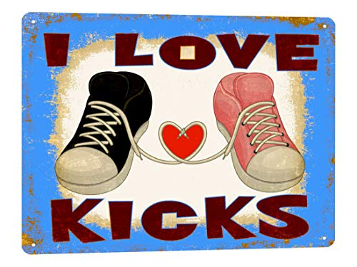 ZMKDLL 30,5 x 20,3 cm Tennis Shoes Divertente Targa in Metallo I Love Kicks Camera dei Bambini Vintage Wall Deco