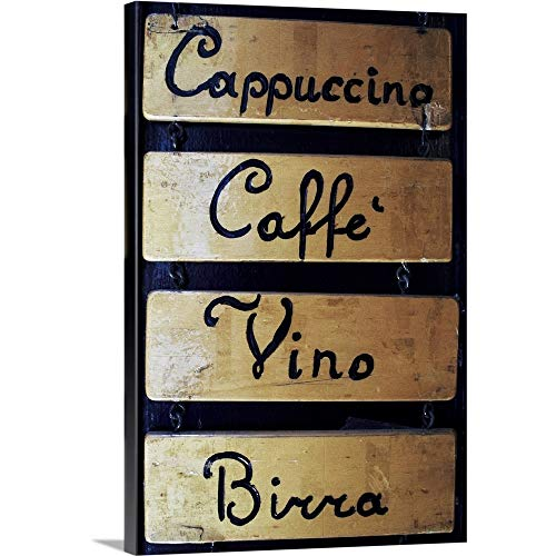 "Italy, Veneto, Venice, Coffee, Wine and Beer Sign Outside a bar Canvas Wall Art Print, 16""x24""x."