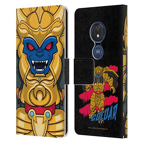 Head Case Designs sous Licence Officielle Power Rangers Goldar Rétro Méchants Coque en Cuir à Portefeuille Compatible avec Motorola Moto G7 Play