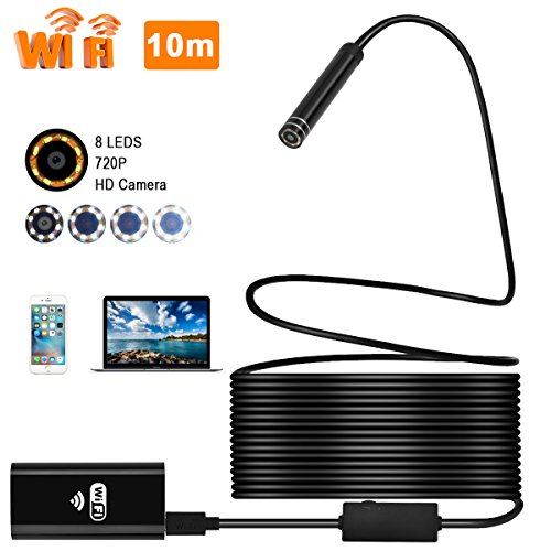 Epress Wireless WiFi Endoscope, 8mm Borescope Semi-Rigid Inspection Camera 2.0 Megapixels HD Snake Camera for Android and iOS Smartphone, iPhone, Samsung, Tablet MacBook(10M)