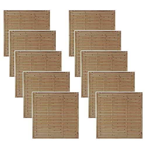 Zaunschnäppchen 10 x Lamellenzaun/Garten Sichtschutz im Maß 180 x 180 cm (Breite x Höhe) aus Kiefer/Fichte Holz, druckimprägniert Hamburg Aktions Preis