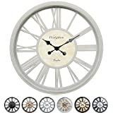 Westzytturm 20 inch Wall Clock Modern Decorative Silent Large Wall Clocks Battery Operated Vintage Roman Numeral Big Clocks for Living Room,Kitchen,Office,Bedrooms(Antique White Clock 20 inch)