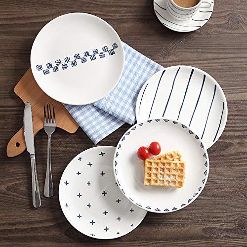 N-S Plato de cerámica familiar plato nórdico plato de desayuno plato occidental red plato rojo plato plato plato carne Set de 2 bandejas poco profundas de 8 pulgadas (opcional, por favor nota)