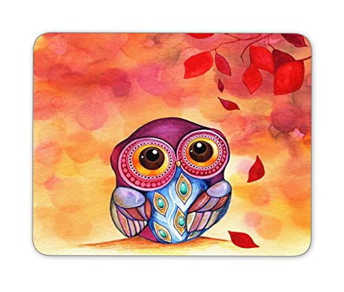 Anti-Slip Gaming Rectangular Mouse Pad, Office Supplies Mouse Pad, Natural Rubber Oil Painting Owl Mouse Pad