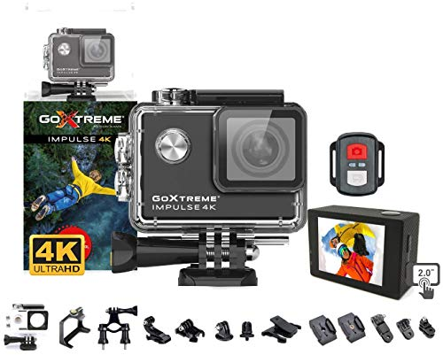 GoXtreme 'Impulse' 4K Action Cam mit Webcam-Funktion, 170° Weitwinkel, WiFi, 30 m wasserfest