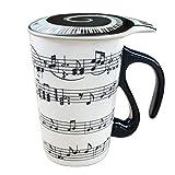 Amazon Brand-Umi Tazza da 400 ml con Nota Musicale Nera, con Coperchio, in Ceramica, Idea Regalo