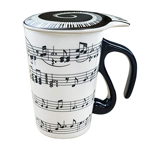 13.5 Oz Mug for Music Lover Coffee Cup with Lid Music Notes Tea Milk Ceramic Mug Cup Gift