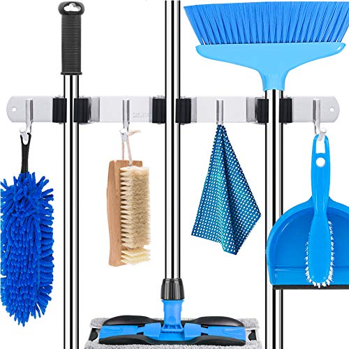 Mop and Broom Holder Wall Mount Heavy Duty Stainless Steel Broom Holder Wall Mounted Broom Organizer Home Garden Garage Storage Rack 3 Position with 4 Hooks (Sliver Stainless Steel)