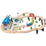 WOOMAX - Circuito Tren de madera Policía 90 piezas (46445)