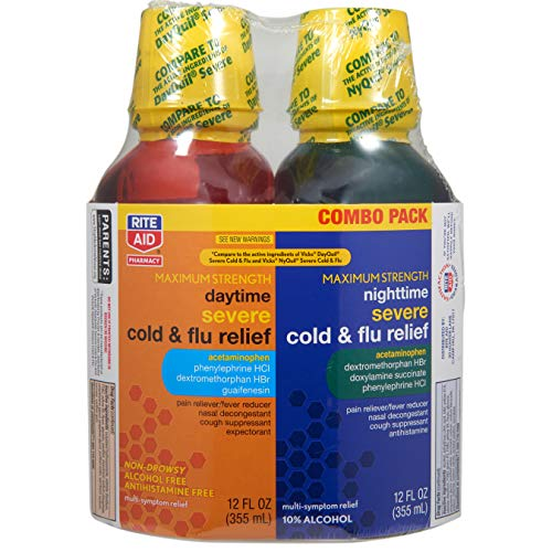 Rite Aid Maximum Strength Daytime and Nighttime Severe Cold and Flu Relief, 12 fl oz - 2 ct