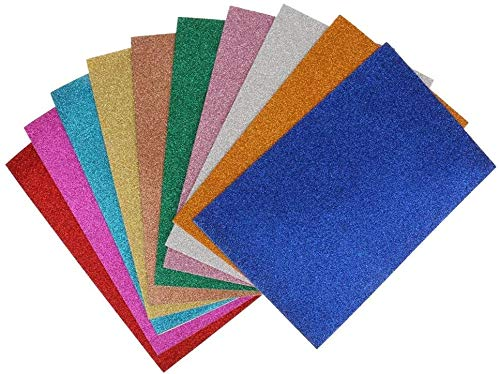 SHANGUP 10er Pack Glitter Foam Sheet Sparkles Selbstklebendes, klebriges 30 x 20 cm großes Rückenpapier 10er Pack für Bastelaktivitäten für Kinder DIY Cutter Art Assorted Colors