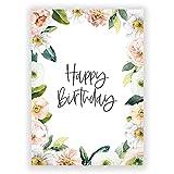 Juego de 5 tarjetas de cumpleaños Happy Birthday | DIN A6 papel reciclado | Herzlichen Glückwunsch | Tarjeta de cumpleaños con flores Postal | CO2 neutral | heeaven