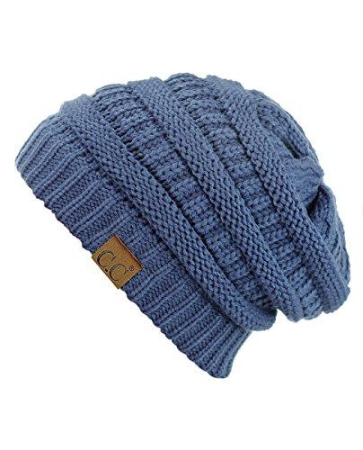 C.C Trendy Warm Chunky Soft Stretch Cable Knit Beanie Skully, Dk Denim