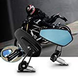 Rétroviseurs Moto, Aolead Moto Latéraux Miroirs 7/8'' 22mm Usiné CNC Pour Moto - Bleu
