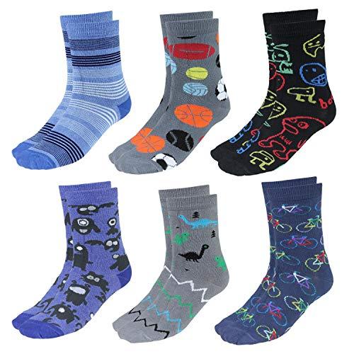 TupTam Calcetines Estampados de Colores para Niños, 6 Pares, Niño 2, 27-30